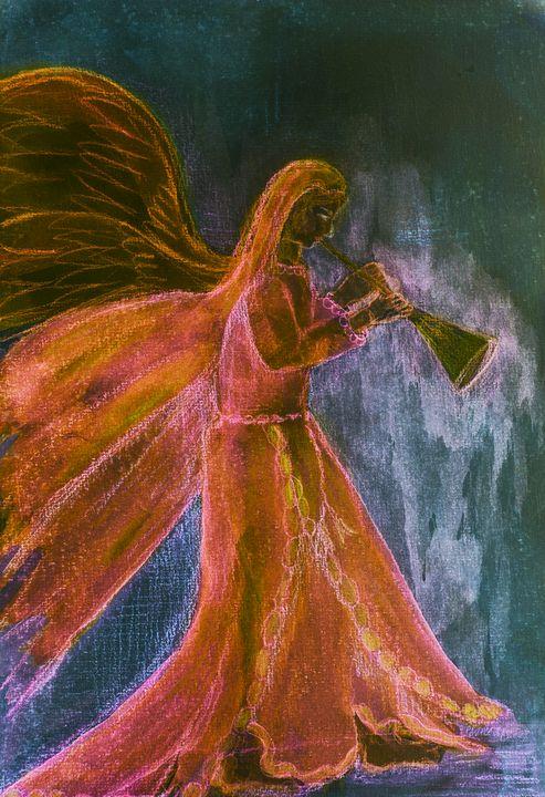 Black archangel blowing a trumpet. - BRISTE