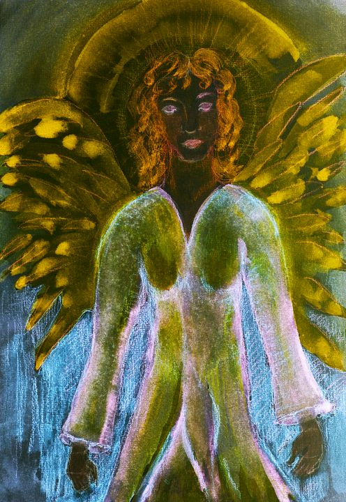 Meditating feminine black angel - BRISTE