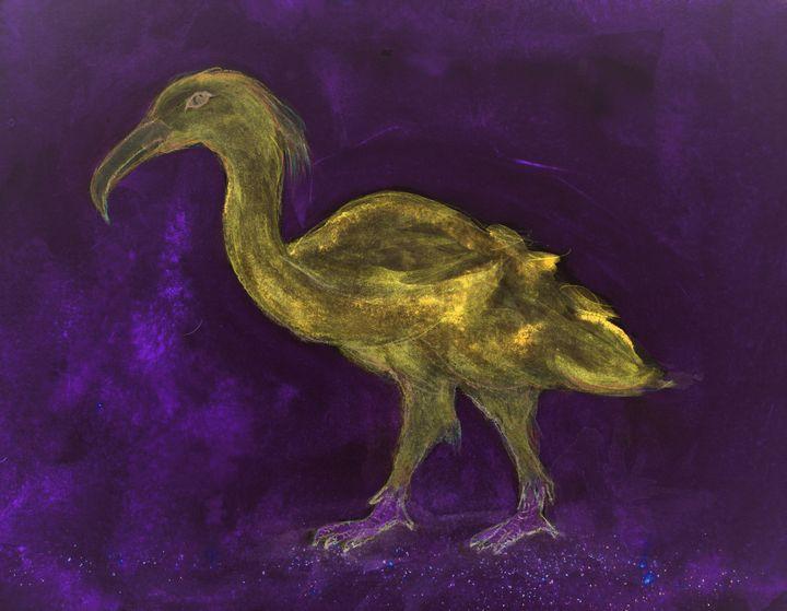 Golden ibis on a purple background. - BRISTE