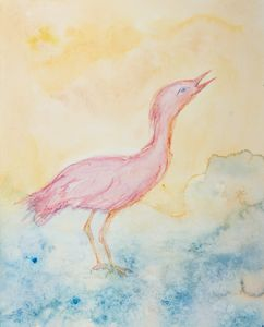 Pink ibis in the river looking up.