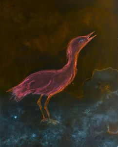 Psychedelic pink ibis bading in the