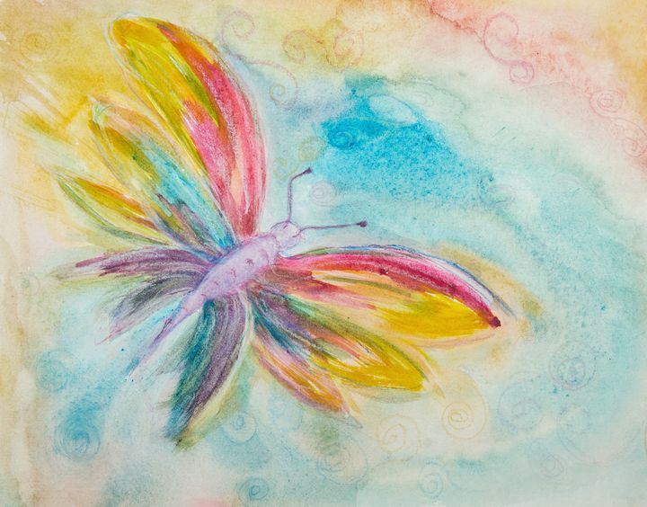 Colorful butterfly in a curly sky. - BRISTE