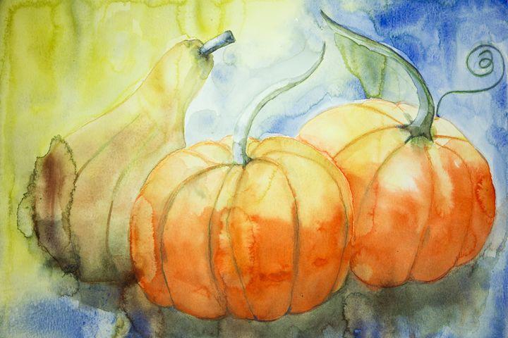 Two pumpkins and a squash. - BRISTE