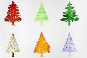 Six colorful christmas trees. - BRISTE