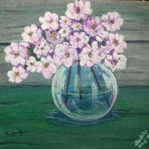 Acrylic painting - Flower vase
