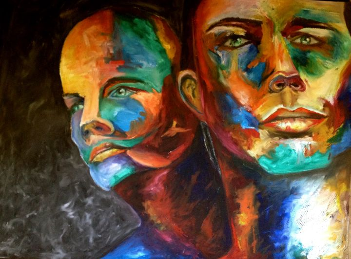 Painting of Two Men - Daphna's Gallery