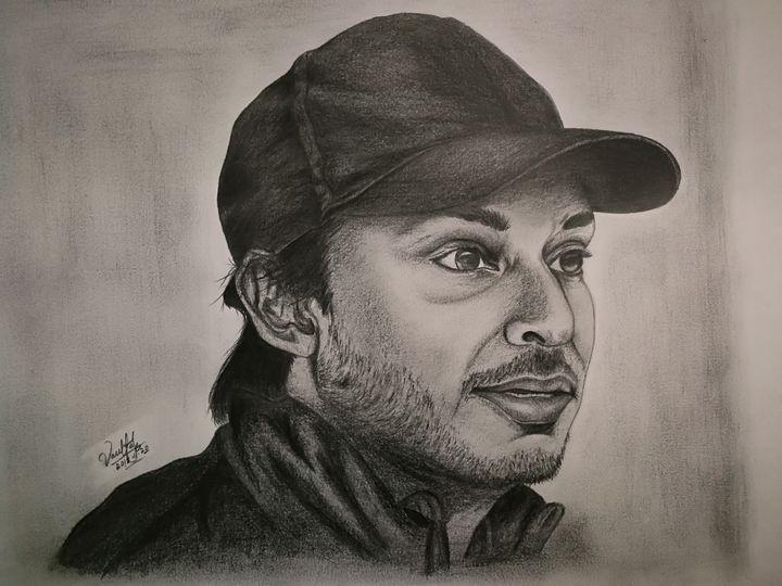 Pencil portrait of Kumar Sangakkara - 9bVault