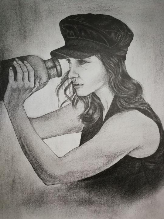 Pencil portrait of actress Katherine - 9bVault
