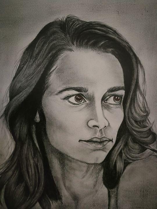 Pencil portrait of Melanie Scrofano - 9bVault