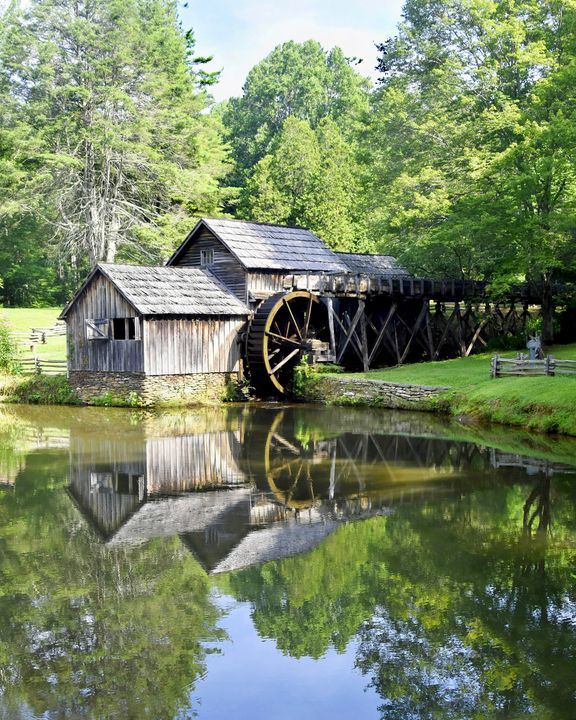 A Reflective Mabry Mill in July - Photographs by Kathy.. Diversified Photographer