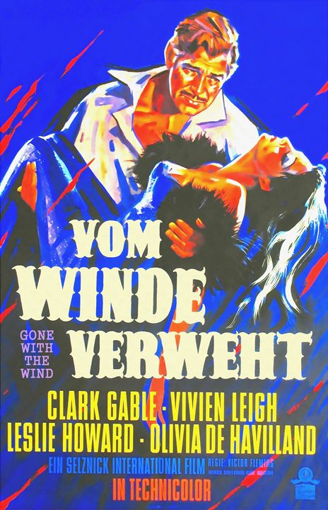 German poster of Gone with the Wind - Art Cinema Gallery