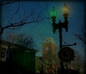 Lamp post and Clock tower