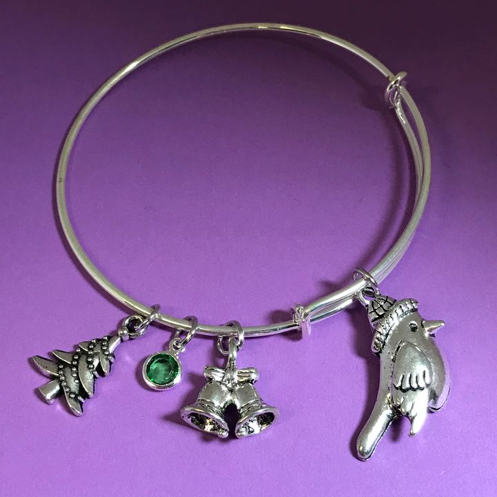 Winter Bird Charm Bangle Bracelet - DebryndaDavey