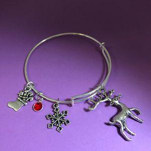 Reindeer Charm Bangle Bracelet - DebryndaDavey