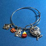 Halloween Owl Bangle Charm Bracelet
