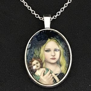Girl with Doll Pendant Necklace