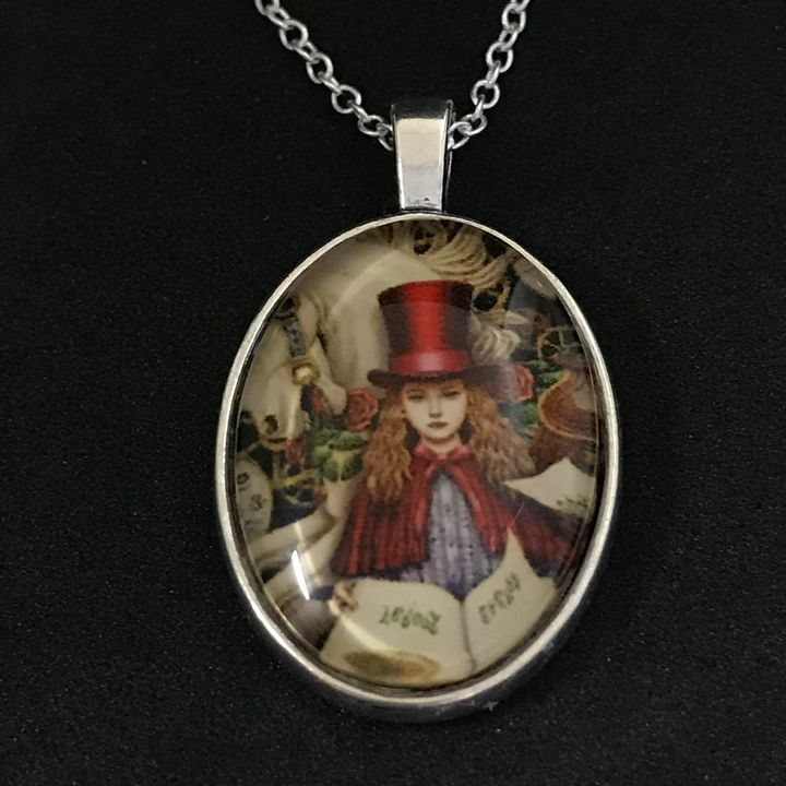 Girl in Red Top Hat Necklace - DebryndaDavey