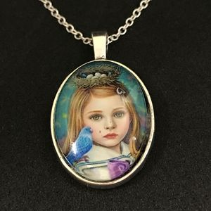 Girl with Bluebird Necklace