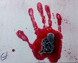Hand print and acrylic on canvas