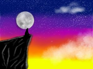Wolf Howling Into The Sunset