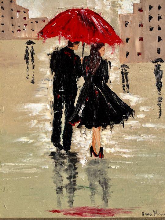 Couple under the umbrella - Inna Montano fine art