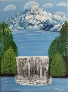 Water fall painting with palm tree
