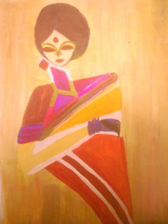 LADY IN SAREE - Prakash 1 fine art / painting gallery
