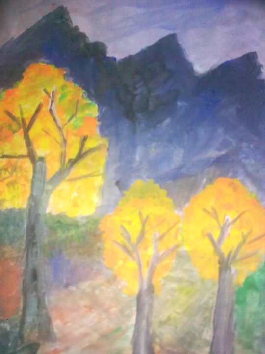 Hill Top With yellow tree - Prakash 1 fine art / painting gallery
