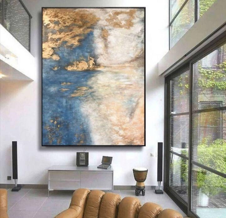 Abstract Gold Blue Acrylic Painting - Rainbow Fine Arts