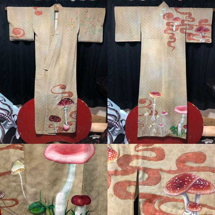 aune paint kimono (mushroom pattern) - aune