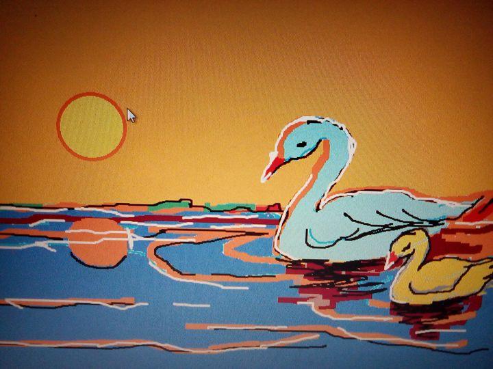 Duck and duckling - Pek amos art