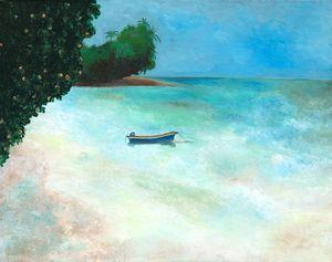 Anchored Boat on Tahiti Shore