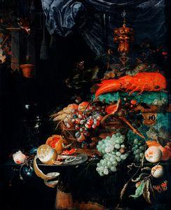 Fruits et homard par Abraham Mignon