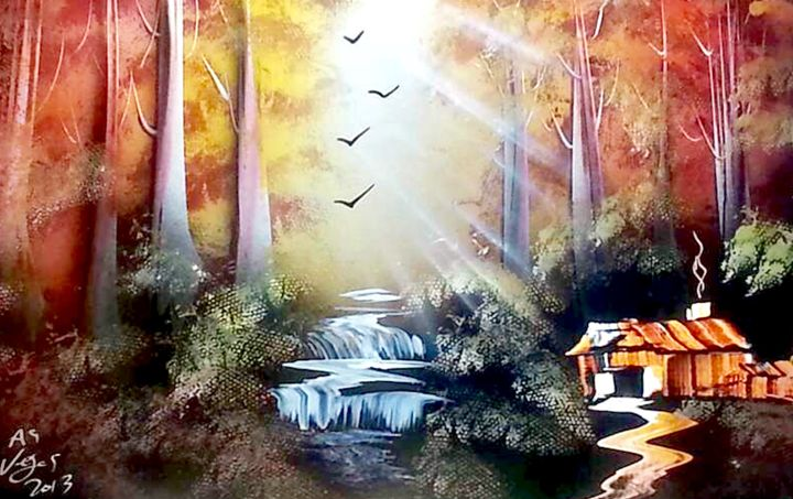 Sunset Forrest w/ Cabin - Joy Of Spray Painting