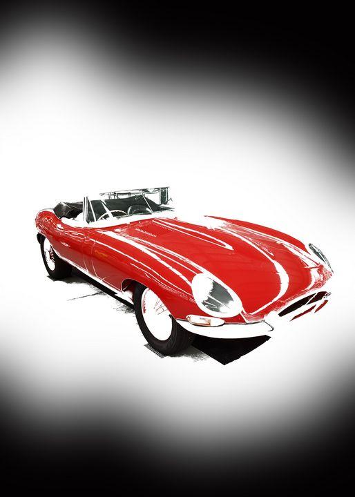 Vintage Red Jaguar Portrait - Thanatus