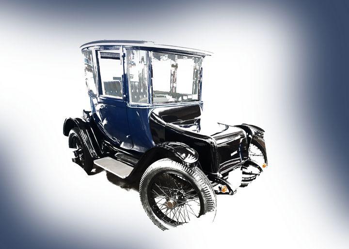 Classic Blue Carriage Car Landscape - Thanatus
