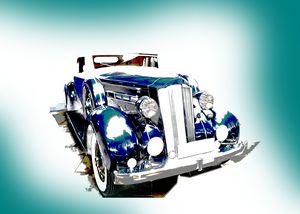 Classic Blue Car Landscape