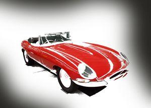 Classic Red Jaguar Landscape