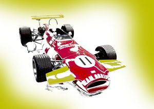 Classic Red Racing Car Landscape