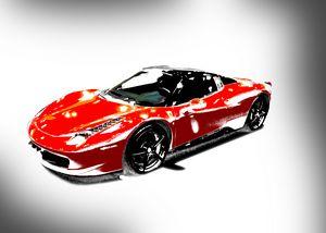 Red Ferrari Landscape