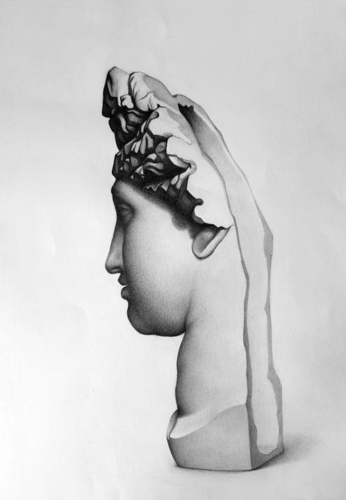 Plaster statue, graphite on paper - Pencil on paper