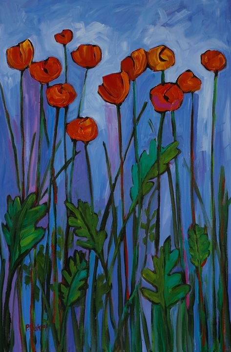 Red Poppies on Blue - Patty Baker