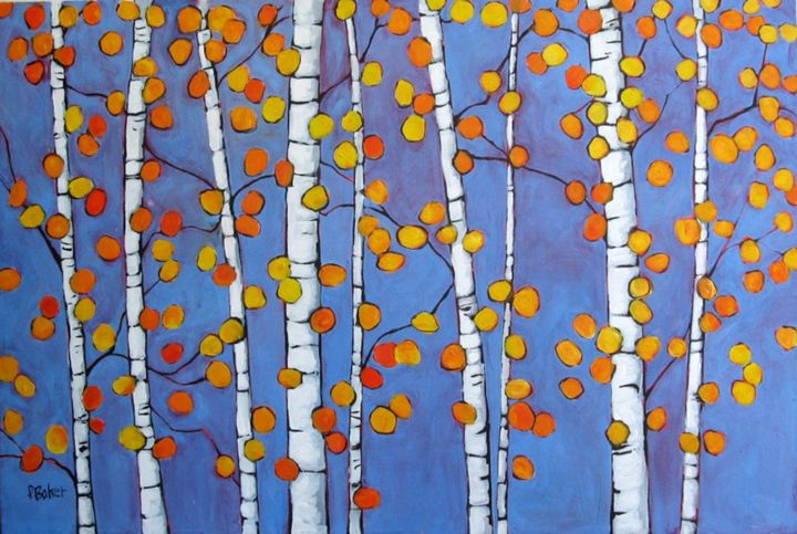 Abstract Autumn Aspens - Patty Baker