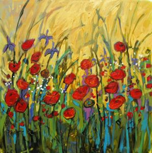 Floral Garden on Yellow II - Patty Baker