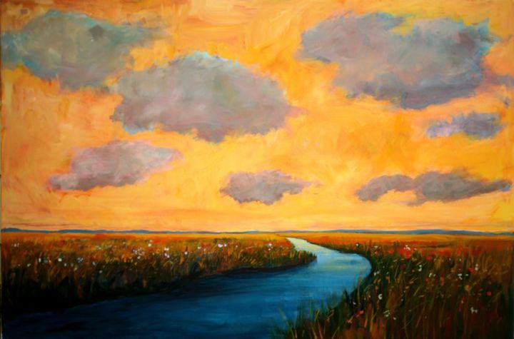 Colorado Plains and Creek, Warm Sky - Patty Baker