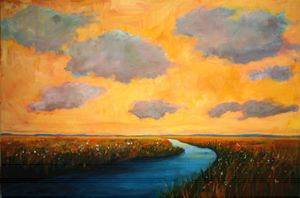 Colorado Plains and Creek, Warm Sky - Patty Baker