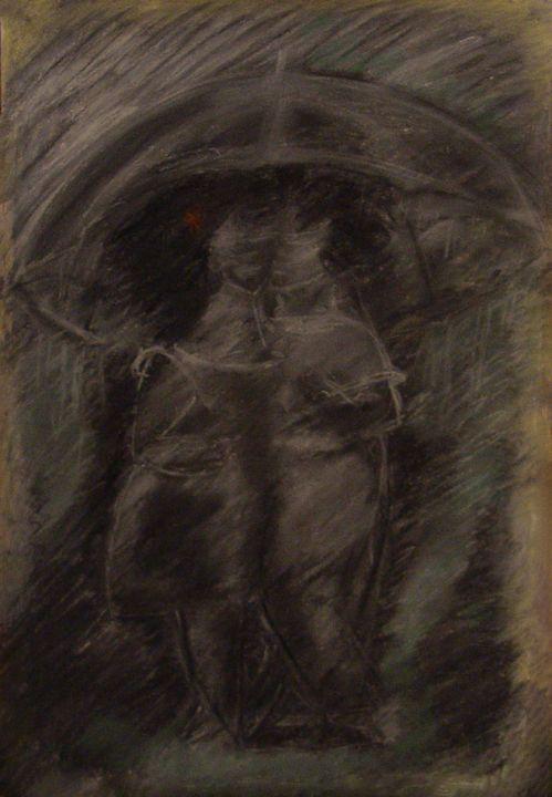 a couple of lovers under an umbrella - Olga Kudryavskaya