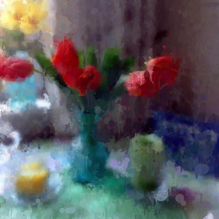 Orange Tulips Abstract - Leslie Kinghorn