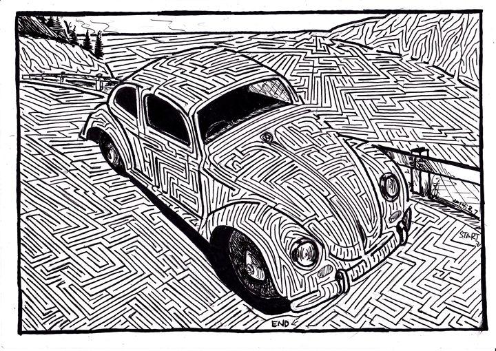 Classic VW Bug - Hand Drawn Mazes