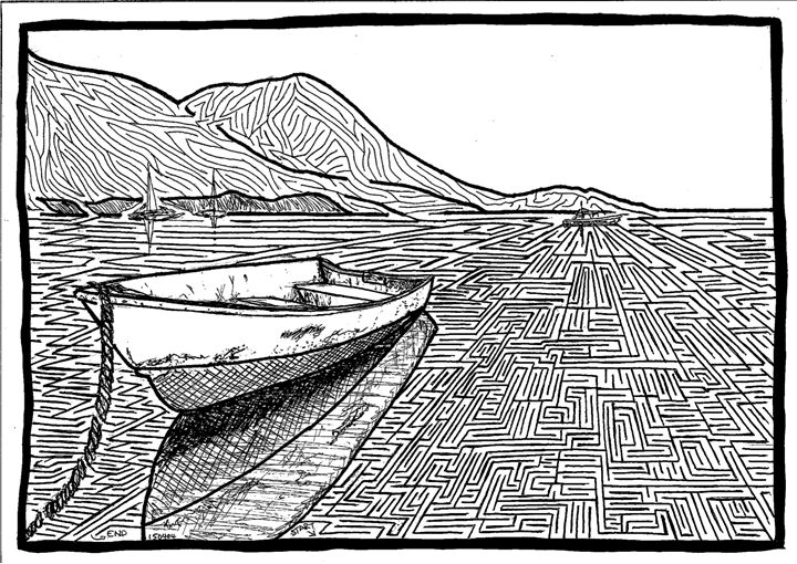 Dinghy peacefully afloat - Hand Drawn Mazes